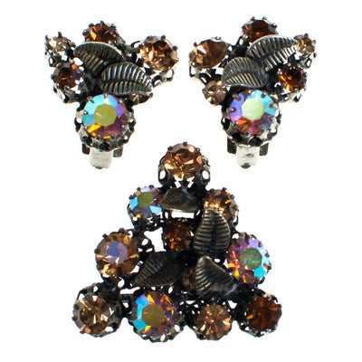 Vintage Made in Austria Rhinestone Aurora Borealis and Citrine Rhinestone Earrings with Leaves by 1960s - Vintage Meet Modern Vintage Jewelry - Chicago, Illinois - #oldhollywoodglamour #vintagemeetmodern #designervintage #jewelrybox #antiquejewelry #vintagejewelry