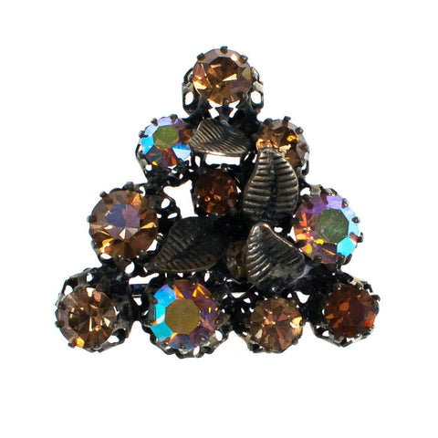Vintage Juliana Aurora Borealis and Smokey Topaz Rhinestone Brooch