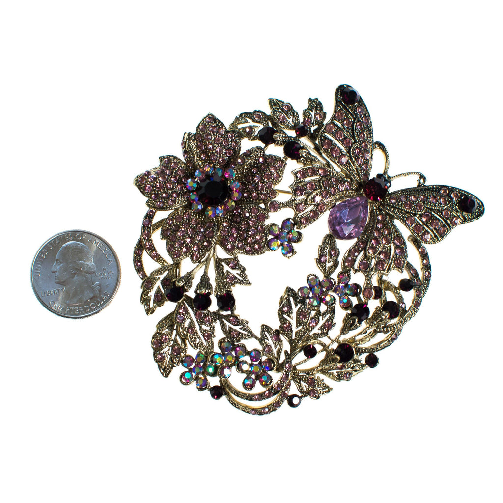 Vintage Butterfly and Floral Brooch with Purple Rhinestones, Brooch - Vintage Meet Modern