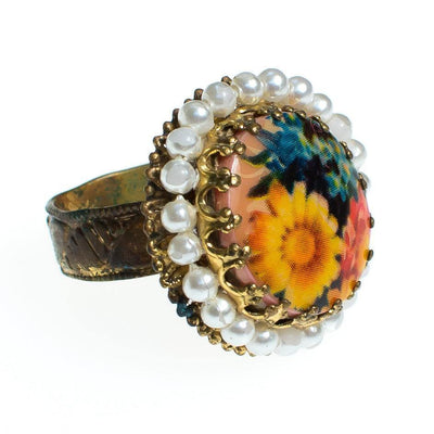 Vintage Colorful Flower Statement Ring with faux pearls set in Gold Tone West Germany Adjustable by 1960s - Vintage Meet Modern - Chicago, Illinois