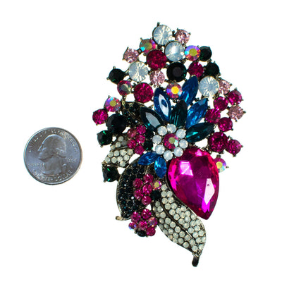 Vintage Hot Pink Blue, Green, Diamante Rhinestone Brooch Pendant, Brooch - Vintage Meet Modern