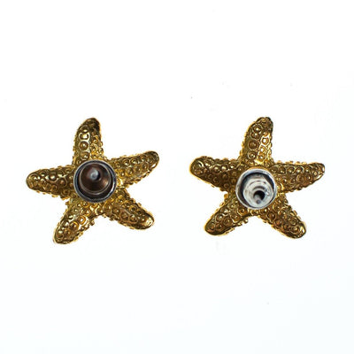 Vintage Gold Starfish Earrings Pierced Petite Size by 1980s - Vintage Meet Modern - Chicago, Illinois