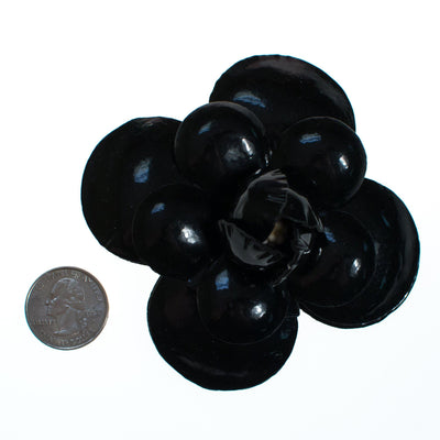 Vintage Black Leather Camellia Flower Pin by 1980s - Vintage Meet Modern - Chicago, Illinois