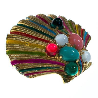Vintage Castlecliff Coloful Seashell Brooch with Jeweled Rhinestone Cabochons by 1970s - Vintage Meet Modern - Chicago, Illinois