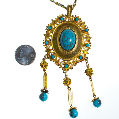 Vintage 1970s Rococco Revival Turquoise and Gold Statement Necklace