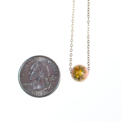 1970s Dainty Gold Filled Necklace with Yellow Rose on Pink Bead, New Old Stock Minimalist by 1970s - Vintage Meet Modern - Chicago, Illinois
