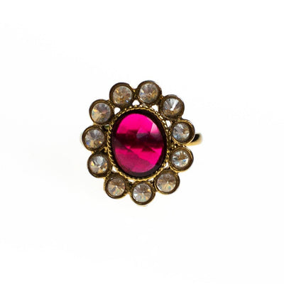 Vintage Ruby Crystal and Bezel Set Crystal Flower Statement Ring