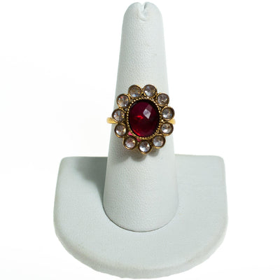 Vintage Ruby Crystal and Bezel Set Crystal Flower Statement Ring by 1960s - Vintage Meet Modern - Chicago, Illinois