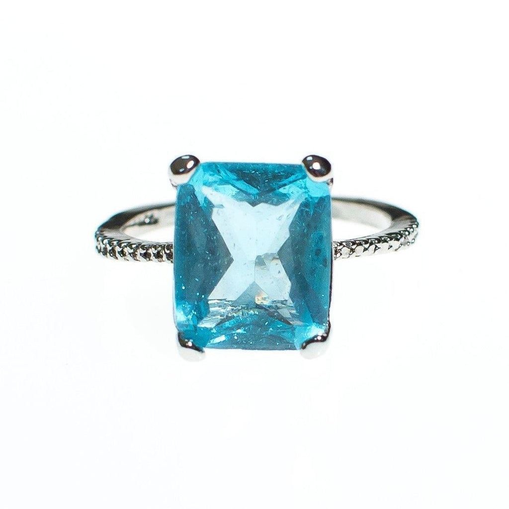Vintage Aqua Crystal Emerald Cut Cocktail Statement Ring