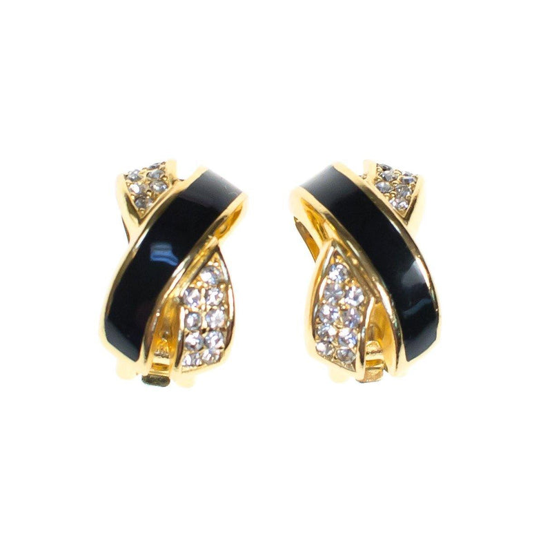 a8a75079591 Vintage Christian Dior Statement Earrings Black Enamel with Sparkling -  Vintage Meet Modern