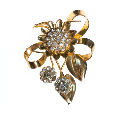 Vintage 1940s Floral Bouquet Brooch with Diamante Crystal Rhinestones, Gold Flower Pin by 1940s - Vintage Meet Modern - Chicago, Illinois