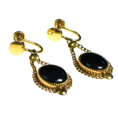 Vintage 1940s Jet Black Glass Cabochon Gold Filled Screw Back Earrings by 1940s - Vintage Meet Modern Vintage Jewelry - Chicago, Illinois - #oldhollywoodglamour #vintagemeetmodern #designervintage #jewelrybox #antiquejewelry #vintagejewelry
