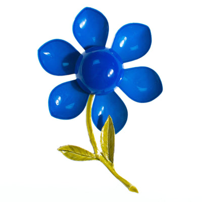 Vintage 1960s Mod Flower Power Retro Blue Enamel Flower Brooch by 1960s - Vintage Meet Modern - Chicago, Illinois