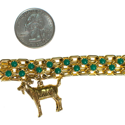 Vintage Gold Tone Chain Bracelet with Jade Green Beads with Navy Ram Charm by 1960s - Vintage Meet Modern - Chicago, Illinois