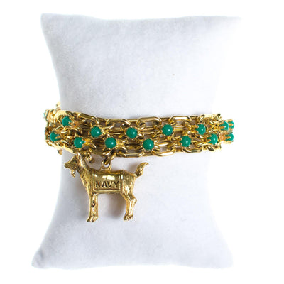 Vintage Gold Tone Chain Bracelet with Jade Green Beads with Navy Ram Charm by 1960s - Vintage Meet Modern Vintage Jewelry - Chicago, Illinois - #oldhollywoodglamour #vintagemeetmodern #designervintage #jewelrybox #antiquejewelry #vintagejewelry