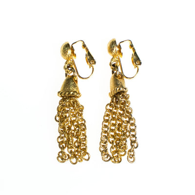 Vintage Gold Tassel Earrings by 1960s - Vintage Meet Modern - Chicago, Illinois