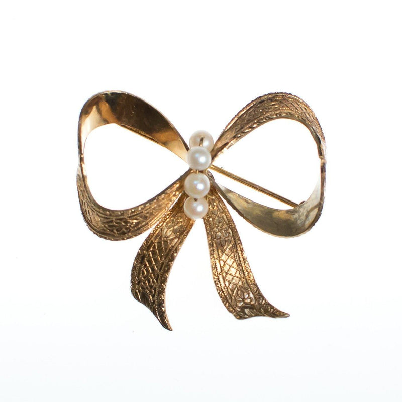 Jewelry & Watches Vintage Brooch From 1940 Bows And Faux Pearls Retro, Vintage 1930s-1980s
