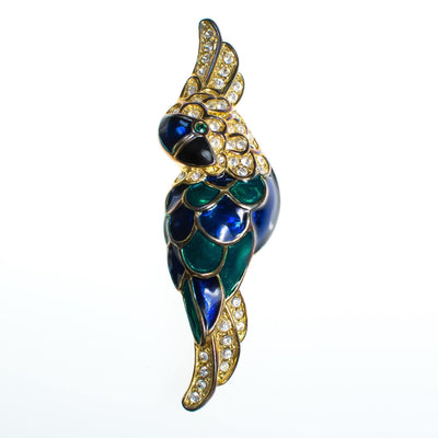 Vintage 1980s Colorful Emerald Green and Sapphire Blue Cockatoo Parrot Brooch with Rhinestones by 1980s - Vintage Meet Modern - Chicago, Illinois