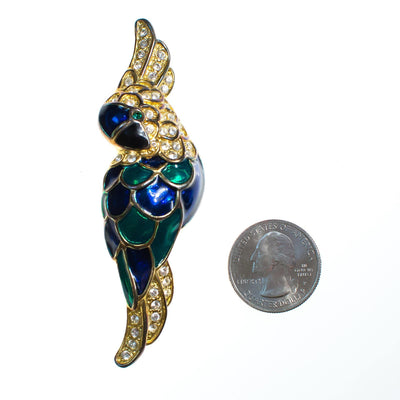 Vintage 1980s Colorful Emerald Green and Sapphire Blue Cockatoo Parrot Brooch with Rhinestones by 1980s - Vintage Meet Modern Vintage Jewelry - Chicago, Illinois - #oldhollywoodglamour #vintagemeetmodern #designervintage #jewelrybox #antiquejewelry #vintagejewelry
