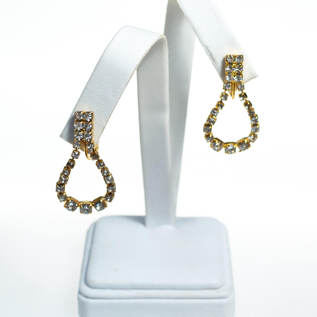 Vintage Hobe Earrings, Clear Crystal Rhinestones, Gold Tone Earrings, Dangle Loops, Clip with Screw Back