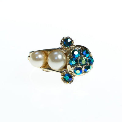 Vintage 1960s Faux Pearl and Green Blue Iridescent Aurora Borealis Adjustable Cocktail Statement Ring