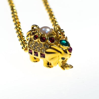 Vintage Joan Rivers Necklace, Elephant with Rhinestones, Gold Tone by Joan Rivers - Vintage Meet Modern - Chicago, Illinois
