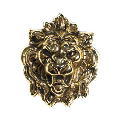 Vintage Gold Roaring Lions Head Brooch Pin by 1960s - Vintage Meet Modern - Chicago, Illinois