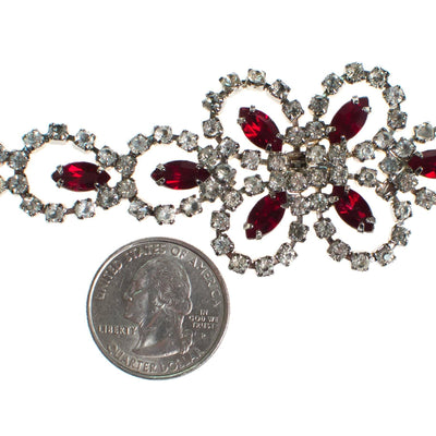 Vintage Art Deco Style Ruby Red Crystal and Diamante Rhinestone Bracelet