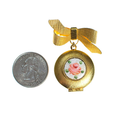 Vintage Guilloche Pink Rose Locket Brooch Pin with Gold Bow by 1960s - Vintage Meet Modern - Chicago, Illinois