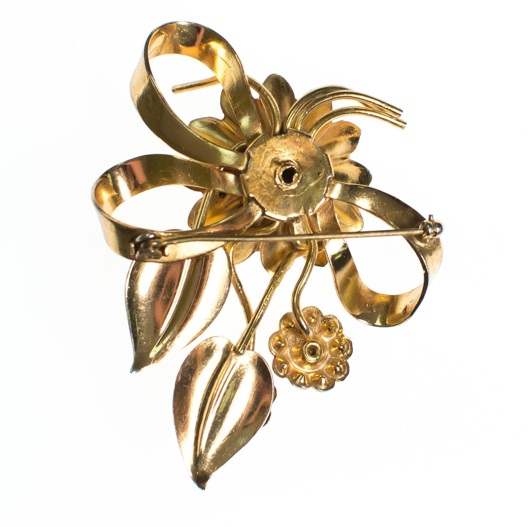 Vintage 1940s Floral Bouquet Brooch With Diamante Crystal