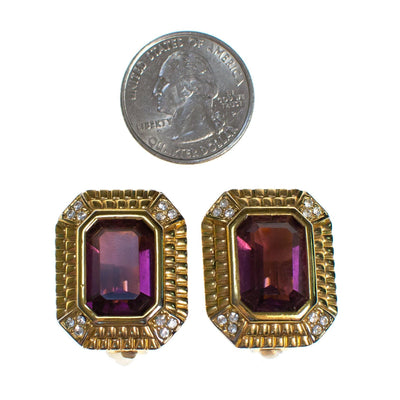 Vintage Swarovski Amethyst Crystal and Diamante Gold Statement Earrings, Clip On by 1980s - Vintage Meet Modern - Chicago, Illinois