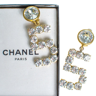 Vintage Chanel No 5 Rhinestone Statement Earrings by Chanel - Vintage Meet Modern - Chicago, Illinois