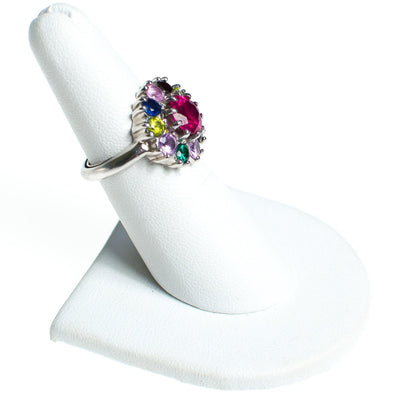 Vintage Rainbow Gemstone Sterling Silver Statement Ring Ruby Sapphire Pink Tourmaline Peridot Citrine Size 6