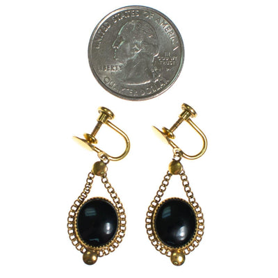 Vintage 1940s Jet Black Glass Cabochon Gold Filled Screw Back Earrings by 1940s - Vintage Meet Modern - Chicago, Illinois