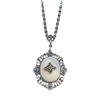 Vintage Edwardian Revival Mother of Pearl Pendant Silver Necklace, Long Pendant Necklace by 1970s - Vintage Meet Modern Vintage Jewelry - Chicago, Illinois - #oldhollywoodglamour #vintagemeetmodern #designervintage #jewelrybox #antiquejewelry #vintagejewelry