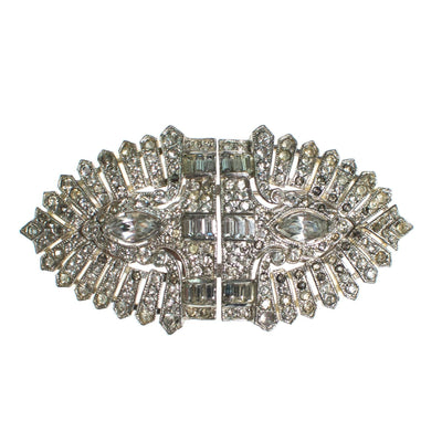 Vintage 1920s Art Deco Rhinestone Duette Brooch Dress Clips