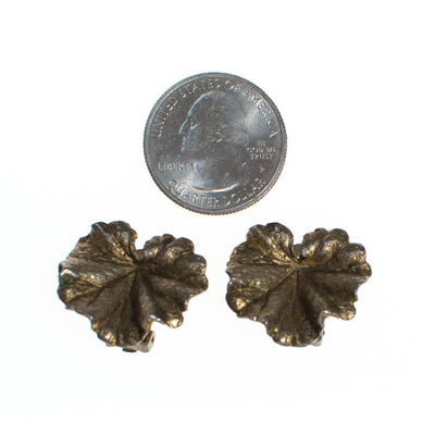 Vintage Napier Ginkgo Sterling Silver Earrings, Clip On