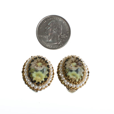 Vintage West Germany Oval Gold Filigree Earrings with Pastel Flowers and Pearls Clip On by West Germany - Vintage Meet Modern Vintage Jewelry - Chicago, Illinois - #oldhollywoodglamour #vintagemeetmodern #designervintage #jewelrybox #antiquejewelry #vintagejewelry