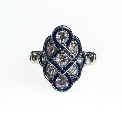 Vintage Art Deco Sapphire Enamel and Diamante Crystal Statement Ring Size 7