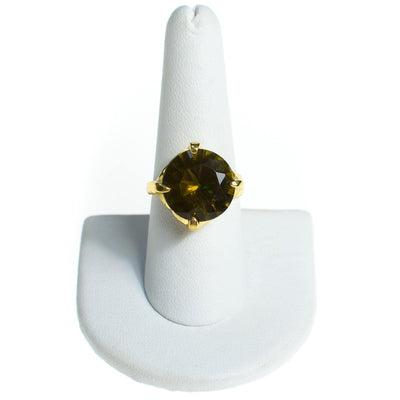 Vintage Olive Green Crystal Rhinestone Statement Ring, Gold Tone, Ring Size 9