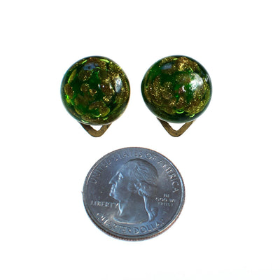 Vintage Green and Gold Venetian Glass Earrings, Gold Tone, Clip-on by 1940s - Vintage Meet Modern - Chicago, Illinois