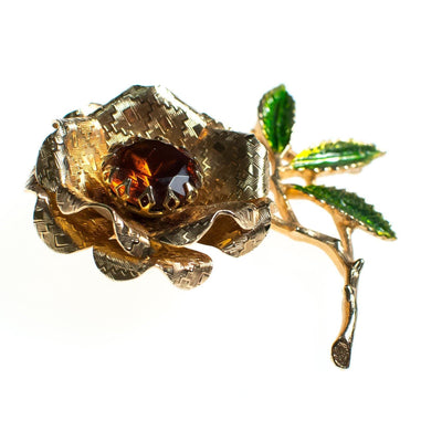 Vintage Sarah Coventry Flower Brooch, Amber Brown Rhinestone Center, Green Accent Leaves, Gold Tone Setting, Brooches and Pins
