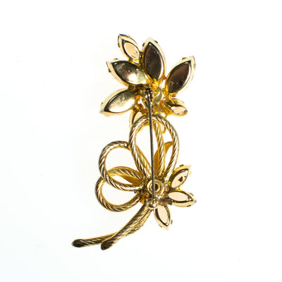 Vintage Flower Brooch, Gold Tone Brooch, Amber, Yellow Citrine, Golden Brown Rhinestones, Rainbow Iridescent Rhinestones, Brooches and Pins