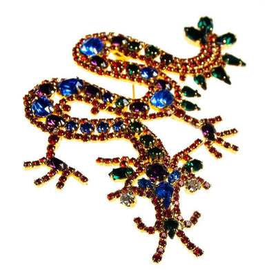 Vintage Chinese Dragon Brooch, Red, Blue, Green, Purple, and Clear Rhinestones, Gold Tone Setting, Brooches and Pins
