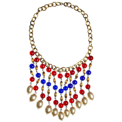 Vintage Czech Red, Blue Gripoix and Faux Pearl Bib Tassel Necklace, Gold Tone Beads, Faux Pearls, Spring Ring Clasp