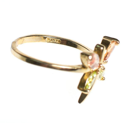 Vintage Citrine and Peridot Semiprecious Gemstone Cocktail Statement Ring Size 10