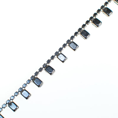 Vintage Cinderella Blue Baguette Rhinestone Necklace, Silver Tone, Fish Hook Clasp by 1950s - Vintage Meet Modern - Chicago, Illinois