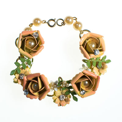 Vintage Peach Enamel Flower Bracelet, Orange Flowers, Green Leaves, Faux Pearls, Gold Tone Beads, Gold Tone Chain, CZ, Spring Ring Clasp by 1950s - Vintage Meet Modern Vintage Jewelry - Chicago, Illinois - #oldhollywoodglamour #vintagemeetmodern #designervintage #jewelrybox #antiquejewelry #vintagejewelry