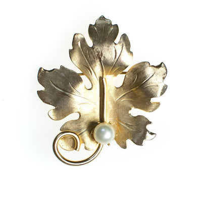 Vintage 1950s Mid Century Modern Lisner Gold Tone Leaf Brooch, Faux Pearl, Brooches and Pins