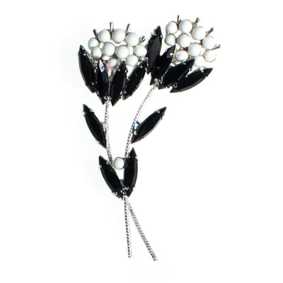 Vintage Flower Brooch, Jet Black Crytal Rhinestones, White Milk Glass Beads, Silver Tone Setting, Brooches and Pins by 1950s - Vintage Meet Modern Vintage Jewelry - Chicago, Illinois - #oldhollywoodglamour #vintagemeetmodern #designervintage #jewelrybox #antiquejewelry #vintagejewelry
